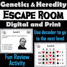 "This breakout escape room is a fun way for students to improve their skills and knowledge of genetics and heredity. Full ""Letter"" sized cards as well as smaller sized cards are provided. Contents: ♦ Teacher Instructions with Usage Guide and FAQ ♦ 20 Multiple Choice Questions ♦ 5 Decoders for"