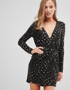002d926d967b Flounce London wrap front mini dress with statement shoulder in black with  gold sequin in black gold at asos.com