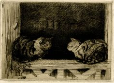 Window sill cats. Lowes Dalbiac Luard (1872–1944). Etching, printed in dark brown ink.