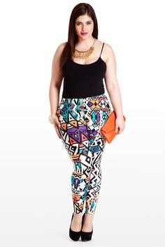 Rave Reviews Geometric Print Plus Size Leggings