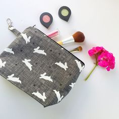 Christmas gift for her, mom, friend, teenage girl. Use code SHOPSMALL150 for discount. Large Makeup Bag Cute Makeup Bag Cosmetic by BellflowerTextiles #shopsmall150