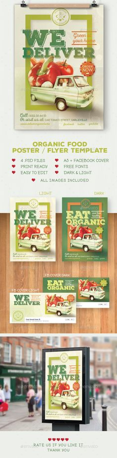 Organic food poster / flyer template