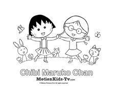 Dibujos para colorear, pintar, iluminar para niños. Dibujos de caricaturas animadas manga japonesas Chibi Maruko Chan, actividades para niños  ----- Coloring pages, painting draws for children. Animated cartoon Japanese manga Chibi Maruko Chan, activities for children and kids