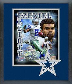 Ezekiel Elliott Dallas Cowboys Composite - 11x14 Team Logo Matted/Framed Photo