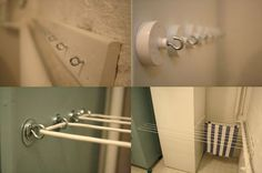Indoor Drying Solution - Here is a great DIY solution if you have weird nooks that you can use. Chez Larsson (AKA Benita) created this in her home and it looks like it would work great. I am not sure how low to the ground it is but I can imagine this would be a great solution for hanging tea towels, dish rags etc.