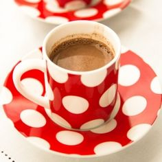 Cute Red Polka Dot Cup and Saucer      @Kristen Smith