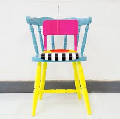 Yinka Ilori -- Upcycled chairs inspired by African motifs.