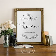 Custom Make Yourself at Home POSTER / WIFI Network and Password / Guest Room Decor / Personalized / Custom / 5x7 – Printable DIY