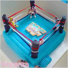 WWF Hasbro Blue Wrestling Ring cake I made for my brothers birthday.  WWF, WWE, Baking, Cake, Cakes, WWE Cakes, WWE Cake, Wrestling Cake, Wrestling Ring Cake, Wrestlers, Hulk Hogan, Old School WWF.