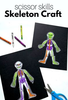 skeleton craft with crayons and scissors Circle Time Activities, Preschool Learning Activities, Motor Activities, Preschool Crafts, Number Activities, Rhymes For Kids, Children Rhymes, Skeleton Craft, Crayon Crafts