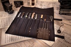 Black canvas knife roll with leather trim – T.S. Prince & Company