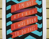 """Joan Of Arc """"I Am Not Afraid"""" Inspirational Quote Print - 11"""" x 14"""" Poster Hand-Lettered Typography"""