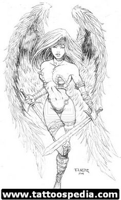 fantasy angel pin up sword woman lady wings Tattoo Flash Art ~A.R.