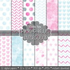 """Watercolor digital paper: """"PINK & BLUE WATERCOLOR"""" with watercolor/watercolour polka dots, stars, hearts, splash, chevron in pink and blue"""
