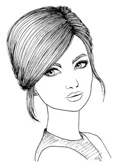 Girl Drawing Sketches, Cute Girl Drawing, Face Sketch, Pencil Art Drawings, Free Adult Coloring Pages, Colouring Pages, Fashion Illustration Hair, Whimsical Art, Drawing Techniques