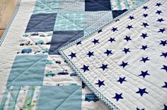 Beautiful materials/colors! (Beautiful Modern Personalised Baby Boy Quilt by SophieBelleDesigns, €120.00_