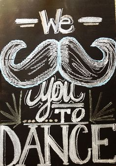 Chalkboard Paint+Cardboard Box = Great Party Decor! We Mustache You to DANCE
