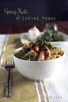 Jordan's Family of Foodies: Meatless Monday: Spicy Kale and Chèvre Penne - yogurt and goat cheese sauce; use shiritaki noodles or julienned zucchini/spaghetti squash in lieu of noodles