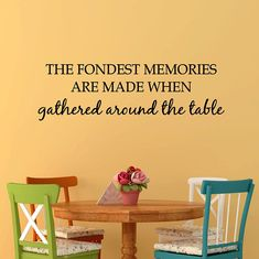 The Fondest Memories Are Made Gathered Around the Table Kitchen Vinyl, Oracal Vinyl, Vinyl Decals, Kitchen Dining, I Shop, How To Apply, Memories, Wall, Etsy