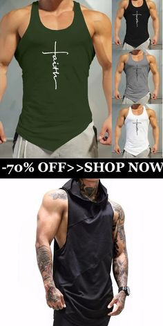 Men's Fitness Vest Solid Color Hooded Sleeveless T-shirt Mens Wardrobe Essentials, Men's Wardrobe, Personal Gym, Body Building Men, Workout Vest, Mens Fashion, Fashion Fall, Dress Codes, Mens Fitness