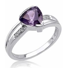 Sterling Silver Trillion Cut Amethyst and Diamond Ring (1 1/4ct tgw... ($40) ❤ liked on Polyvore featuring jewelry, rings, diamond rings, diamond accent rings, sterling silver diamond rings, pandora jewelry and womens jewellery