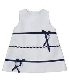 Vestido para bebé, evasé... Tipo marinero by elephantito.
