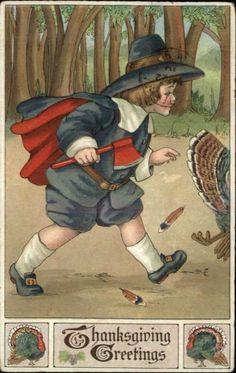Thanksgiving Pilgrim Boy Follows Turkey w Hatchet Embossed c1910 Postcard