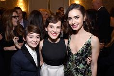 Noah Schnapp, Millie Bobby Brown and Lily Collins