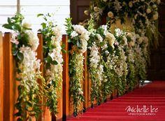 Wow now that's a church decorated! Church Wedding Decorations Aisle, Simple Church Wedding, Pew Decorations, Church Wedding Flowers, Wedding Pews, Church Wedding Ceremony, Wedding Isles, Wedding Flower Decorations, Wedding Chairs
