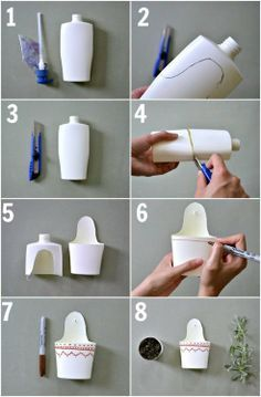 Reuse plastic containers and make some cute planters Plastic Bottle Crafts, Recycle Plastic Bottles, Plastic Bottle Planter, Diy Home Crafts, Creative Crafts, Creative Ideas, Reuse Plastic Containers, Diy Recycling, Shampoo Bottles
