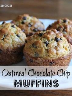 These Oatmeal Chocolate Chip Muffins are so easy to whip up, they are hearty & delicious, and they freeze well, too! not too sweet, but the kiddos like them!