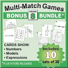 Grade 8 Multi-Match Math Games: This bundle includes ten 36-card sets that will help students develop deeper understanding of key concepts. ~ by Angie Seltzer | Teachers Pay Teachers