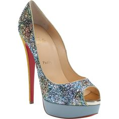 Christian Louboutin Blue And Yellow Multi-Color Glitter 'lady Peep... (3.000 BRL) ❤ liked on Polyvore featuring shoes, pumps, metallic pumps, blue glitter pumps, high heel platform pumps, platform pumps and blue leather pumps