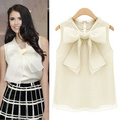 Free shipping! Hot sale new 2014 summer women's fashion brand high street big bow sleeveless v-neck solid casual chiffon blouses $9.99