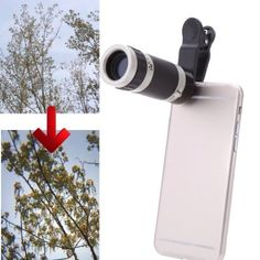 Phone Camera Lens Video Holder 8X Activity Zoom Lens Clip Universal for iPhone Samsu. Overcome the shortcoming of the cellphone that can only take photos near-sighted. Smart design for focusing longer distance with 8X optical zoom when taking photos or videos. Fashion light path design, super wide angle, high resolution, excellent color revivification performance. Effectively avoids image contortion leads to clear and bright picture quality ocular. Suitable for smartphones.