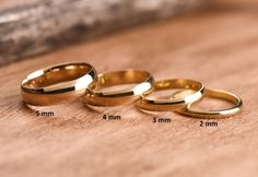 5 mm Gold Wedding Bands are Solid GOLD ( not filled or plated) Classic wedding solid gold ring in Gold, Rose Gold, White Gold. 2 mm Wedding Band ✧ - Famous Last Words White Gold Wedding Bands, Wedding Rings For Women, Gold Bands, White Gold Rings, Wedding Yellow, Gold Band Ring, Plain Wedding Bands, Or Rose, Rose Gold