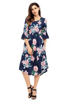 9af49de8d395c Annflat Womens Plus Size Floral Print Round Neck Short Sleeve Midi Dresses  XLarge Navy