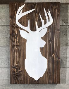 Hand made deer silhouette The sign pictured measures 17 X Custom sizes and colors available upon request Hunter Christmas Gifts, Silhouette Sign, Front Porch Signs, Whittling, Wood Signs, Moose Art, Clock, Unique Jewelry, Handmade Gifts