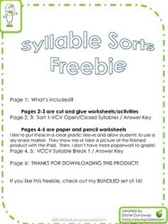 This freebie includes a cut and glue sorting activity for VCV open and closed syllables with answer key and a pencil paper worksheet VCCV syllable break.