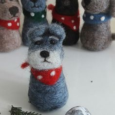 A Schnauzer has joined the needle felted pooches with bandanas team at the rehoming center (my Etsy shop). #feltanimalsdiy
