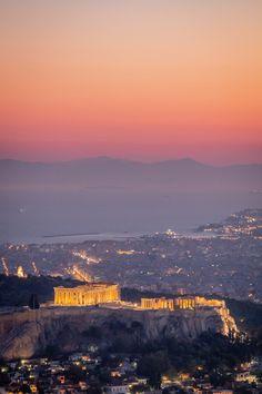 Sunset over Acropolis City Aesthetic, Travel Aesthetic, Greece Photography, Travel Photography, Places To Travel, Places To See, Greece Wallpaper, Acropolis Greece, Wow Art