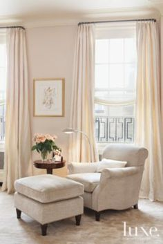 Reading corner | Bedrooms | LUXE Source...Love the shades!