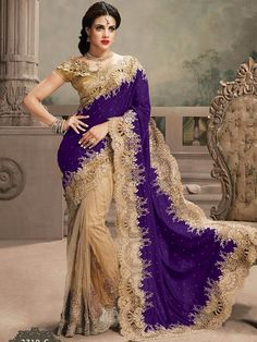 Beige with Purple Heavy Embroidered Bridal Saree with blouse