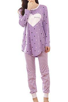 fde5fdac2b7 Lasher Women s Happy Heart Printed Sleepwear Sets Long Sleeve Pajamas  Nightwear