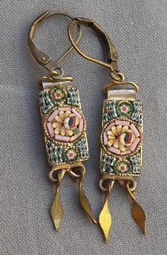 Vintage Floral Micro Mosaic Earrings in Brass