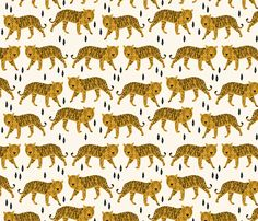 Tigers - Cream/Mustard fabric by andrea_lauren on Spoonflower - custom fabric Textile Patterns, Textile Design, Print Patterns, Textiles, Motif Design, Pattern Design, Illustrations, Illustration Art, Black White Nursery