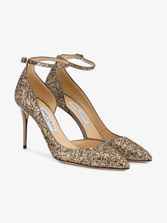 a0d71165d45b Shop online Jimmy Choo Gold Lucy 85 glitter pumps today with fast global  shipping and free returns.
