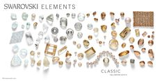 Sheer silvers and golds in Swarovski crystal form