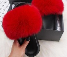 Slides Slippers Fur Sandals Flip-Flops Present Creamy Costly Shoes Ethel Anderson Raccoon Flip Flop Shoes Fuzzy Slides, Cute Slides, Faux Fur Slides, Fluffy Shoes, Red Fur, Flip Flop Shoes, Flip Flops, Me Too Shoes, Cherry Red