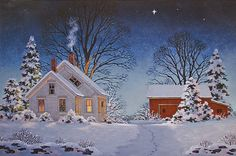 Christmas Star by Fred Swan.Welcome To The Home For The Best in Vermont Art Swan Painting, Tole Painting, Snow Scenes, Winter Scenes, Winter Pictures, Christmas Pictures, Christmas Scenes, Christmas Art, Illustration Noel